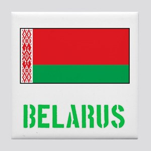 Belarus Flag Stencil Green Design Tile Coaster
